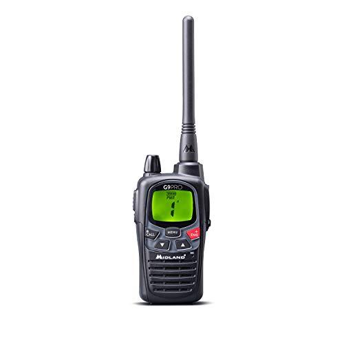 Midland G9 Pro Funkgerät, 16 PMR446-69 LPD Kanäle, Wasserfest IPX4, High/Low Power Sendetaste, Notruffunktion, inkl. Standlader und 1800mAh Akkus C1385 schwarz