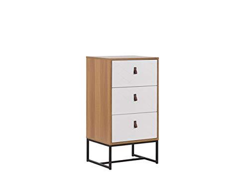 Nowoczesna komoda szafka z szufladami metalowa rama jasne drewno z białym Nueva