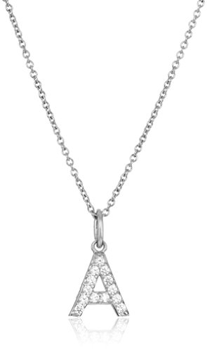 Platinum Plated Sterling Silver 'A' Initial Pendant Necklace set with Swarovski...