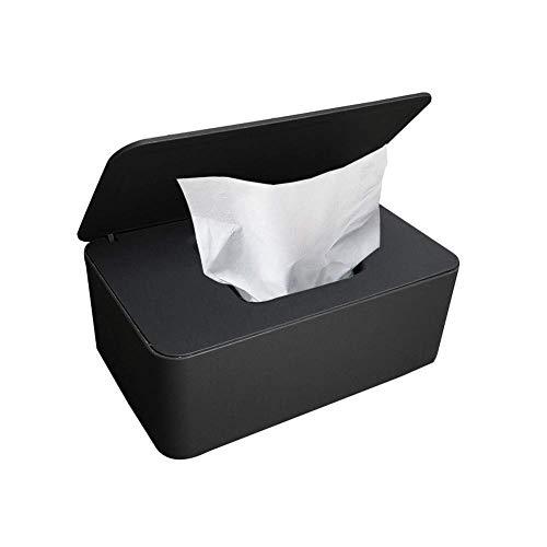 Feuchttücher-Box,Baby Feuchttücherbox,Baby Tücher Fall,Toilettenpapier Box,Tissue Aufbewahrungskoffer,Taschentuchhalter,Kunststoff Feuchttücher Spender,Tücherbox,Serviettenbox (Schwarz)