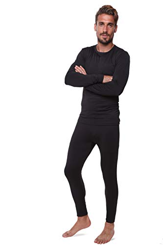 Men Thermal Performance Underwear Set; Base Layer; Midweight Soft Fleece; Warm Long Sleeve Vest and Long Johns Bottoms (LAR, Black)