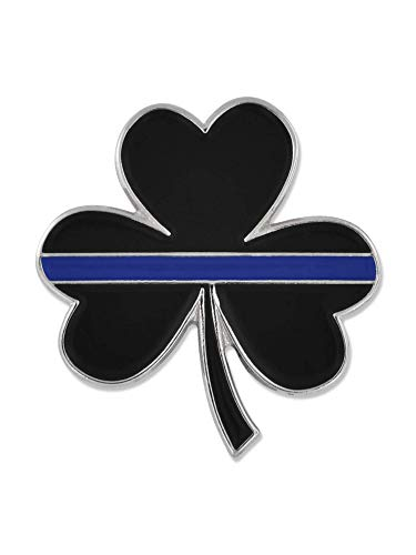 PinMart Thin Blue Line St. Patrick's Day Shamrock 3 Leaf Clover Lapel Pin