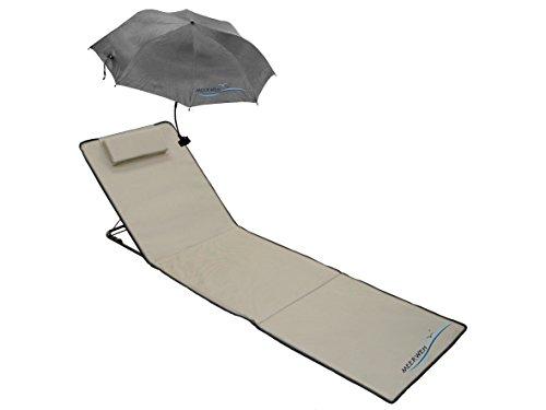 Meerweh Strandmatte XXL mit Lehne & Schirm Strandliege Isomatte Picknickdecke ca. 200x60cm Sonnenliege, Beige, 200 x 60 x 68 cm