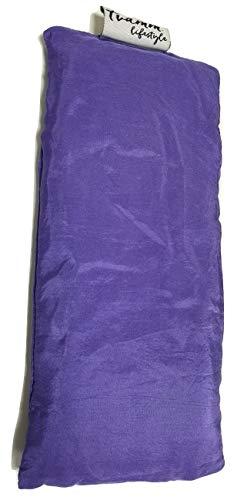 Tvamm-Lifestyle Augenkissen mit Leinsamen/Lavendel Füllung - 100% Baumwolle Stoff, 23 x 11 cm/in wunderschönen Farben erhältlich (Lila Seide)