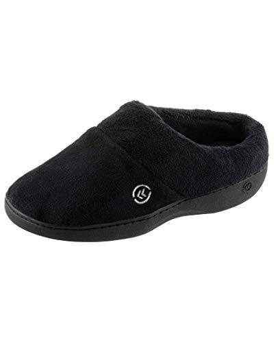 isotoner Women's Cozy Terry Slip-in Clog with Soft Memory Foam, Comfort Arch Support, and an Indoor/Outdoor Sole, Black, 9.5-10