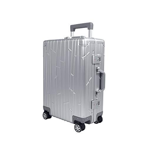 Gundel Aluminium Handgepäck Koffer Cabin Trolley 55x40x20 cm H/B/T 35L 4x360° Rollen Silber 2X TSA-Zahlenschloss