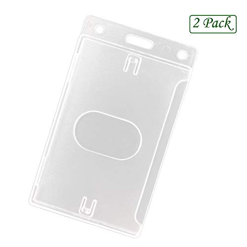 Fallen One 2 Pack Hard Plastic ID Card Badge Holder Vertical with Thumb Slots