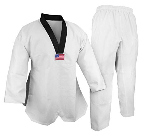 V-Neck Taekwondo Deluxe Jaquard Diamond Fabric White w Black Trim Kimono Gi Uniform (3)
