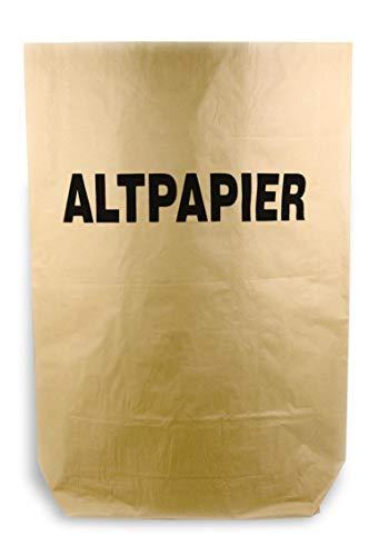 Hypafol Bio Papier Müllbeutel | abbaubare braune Biomüllbeutel für kompostierbare & biologische Abfälle & Papier | ohne Plastik | 2-lagig, Tüten mit 120 L | 700x950+220 mm, Aufdruck Altpapier, 50 St