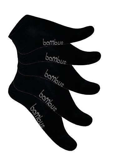 SGS 5-10 Bambus Socke Sneaker Herren Damen Bambussocken (39-42, 5 x Schwarz)