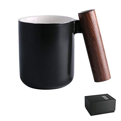 Keramische kom Keramisch Houten Handvat Koffie Cup Schaal, Mok theepot Cup Milkshake Cup, met Cover met Handvat Anti-hot, Zwart Grijs Beige Fyxd Zwart1