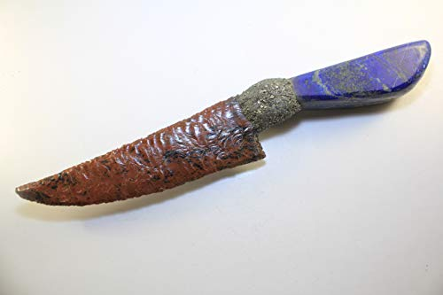 """13-3/4"""" Long Mahogany Obsidian Knife Blade Domed Dragon Glass Gem Point Flint Knapped/Knapping Mountain Man Rendezvous With Crushed Pyrite Hafted On Real Polished Lapis Handle"""