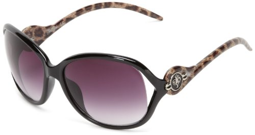 Southpole Women's 161SP Oval Sunglasses, Black Animal, 60 mm