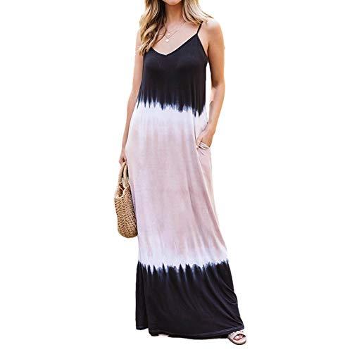 PIGMAMA Farbtonfarbe Ärmelloses Hosenträger Böhmisches Kleid Frauenkleider mit Taschen und charmant very well