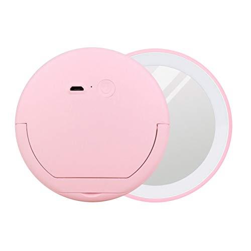 Lurrose Miroir de maquillage LED Miroir de poche portatif avec miroir rond et miroir avec support pour bague (Rose)