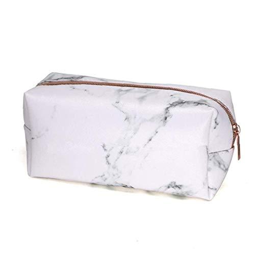 Mármol de maquillaje Bolsa portátil de viaje de belleza cosmética del monedero del artículo de tocador de almacenamiento caja de lápiz de los efectos de escritorio bolsa (rosa) Artículos para el hogar