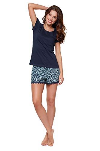 Moonline - Pijama corto de algodón suave para mujer azul marino L
