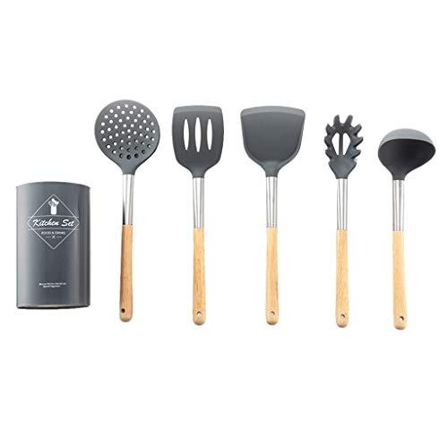 6 Stück Silikon Küchenutensilien Set Mit Edelstahl Holzgriff Spatel Löffelhalter Kochwerkzeuge