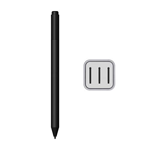 2020 Microsoft Surface Pen for Surface Pro 7 Pro 6 Surface Laptop 3 Surface Book 2 Laptop 2 Surface Go Studio 2 4096 Pressure Points Rubber Eraser Bluetooth 4.0 Black w/3 Extra Surface Pen Tips HB