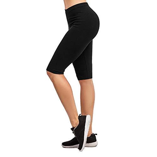 I&S Women's Knee Length Cotton Biker Shorts Walking Exercise Workout Yoga Boyshorts Activewear (Small, Black)