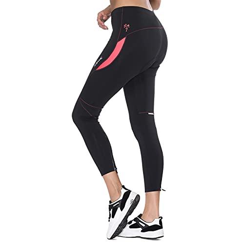 Santic Culote Ciclismo Mujer Culote Bicicleta Pantalones Largos de Ciclismo/Bicicleta/MTB con Badana para Mujeres Rosa EU XL