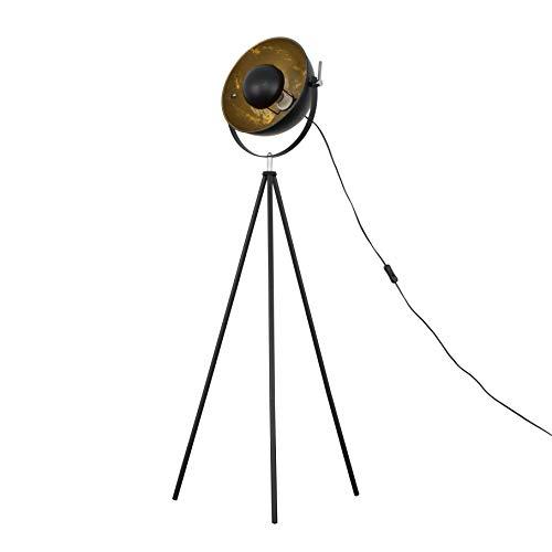 Lámpara de pie estilo trípode retro en un acabado de metal negro con una pantalla interior dorada.
