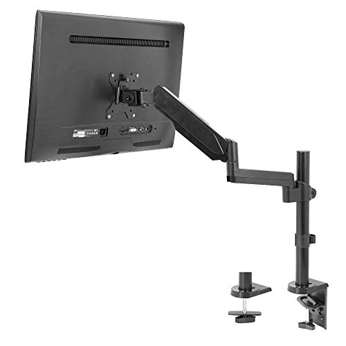 VIVO Black Single Arm Computer Monitor Desk Mount with Pneumatic Height Adjustment and Full Articulation, VESA Stand with C-clamp and Grommet Options, Holds 1 Screen up to 32 inches STAND-V001K