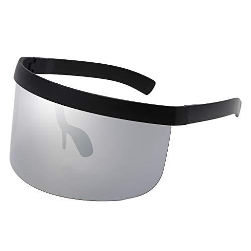 kowaku Gafas de Sol Unisex Futuristas con Visera de Gran Tamaño Gafas Planas - Plata