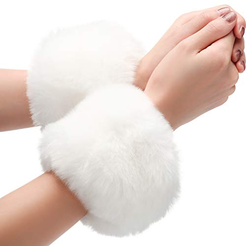 Faux Fur Short Wrist Cuff Winter Wrist Cuff Warmers Fuzzy Wrist Cuff for Women Girls Favors (White)