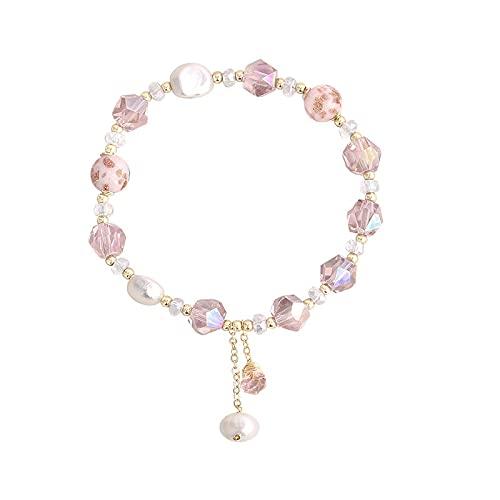 Pulsera de cristal rosa, pulsera de perlas de cristal, diseño de nicho, joyería sencilla, pulsera de perlas