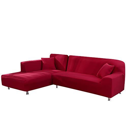 laamei Funda de Sofa Elástica Chaise Longue 2 Piezas Brazo Largo Derecho Izquierda Funda Cubre Sofá de Forma L Protector para Sofá de Poliéster