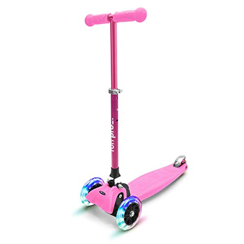 fun pro ONE - der sichere Premium Kinder Roller, LED 3 (DREI) Räder, faltbar, ab Kleinkind (Kickboard, Tretroller), für Junge und Mädchen, aus Hamburg mit erweiterter Garantie, Pink