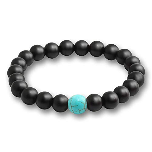WATOP Fashion Natural Tiger Eyes Lava Stones Bracelets- Men Beaded Bracelets Bangle Round White Black Chakra Yoga Jewelry -for Women (Black Blue)
