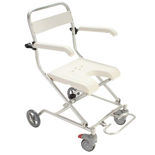 Review ZRLunyi Aluminum Alloy Rolling Shower and Commode Transport Chair, with Wheels and Padded Sea...