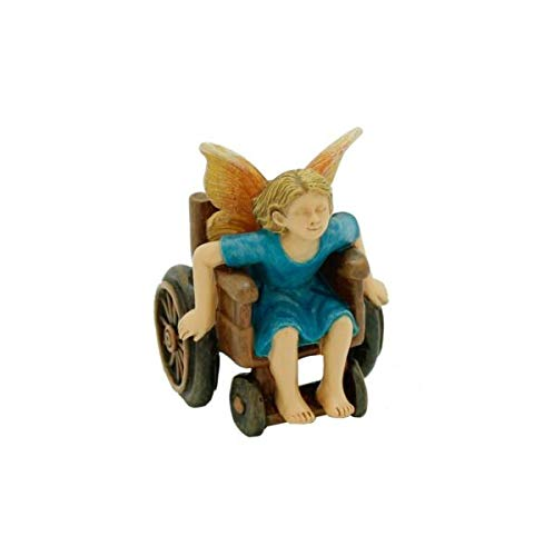 MIABE Ornaments - Wheelchair Racer Fairy MG 2 Miniature Fairy Garden Supplies for Garden, Patio, Deck, Porch - Yard Art Decoration