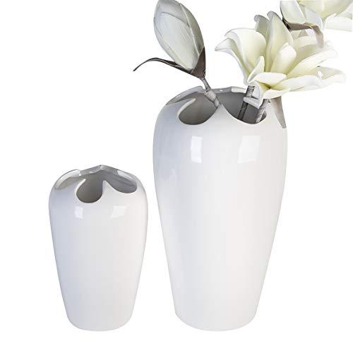 Casablanca Vase Flower Weiss glasiert,KeramikH.18cm