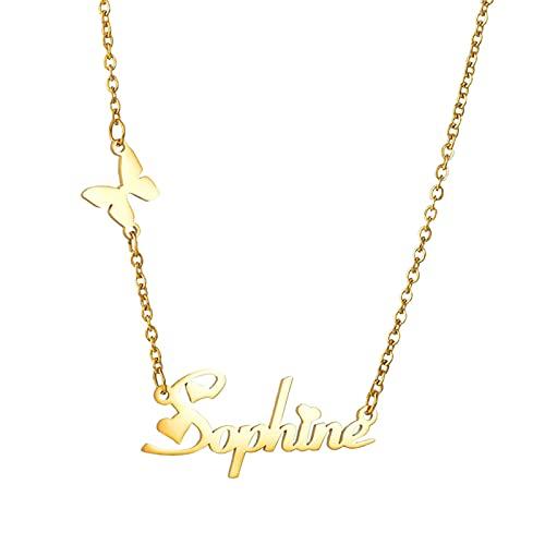 Collana con nome personalizzata Collana con nome Collana con clavicola Promessa Anniversario per donna(Oro 24)