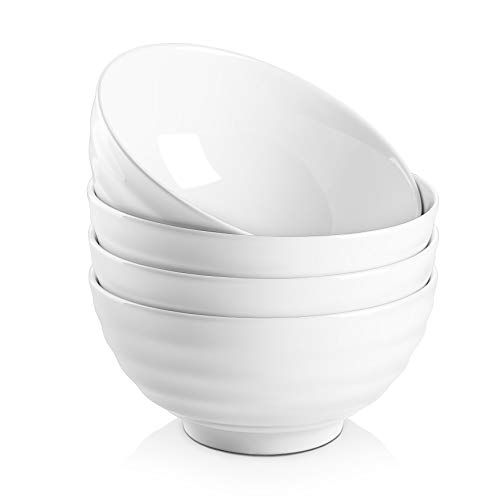 DOWAN 26 Ounces Porcelain Soup Bowls, Cereal Bowls with Non Slip Ripples, 4 Packs, Stackable Round, Dishwasher & Microwave Safe, Easy to Clean Ceramic, White