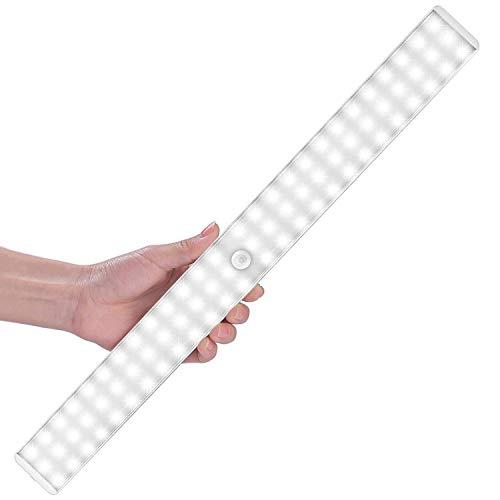 Luz Nocturna, 78LEDs Led Armario con Sensor de Movimiento Recargable 4 Modos con Cinta Adhesiva Magnética para Armario, Pasillo, Estantería, Escalera (blanco)