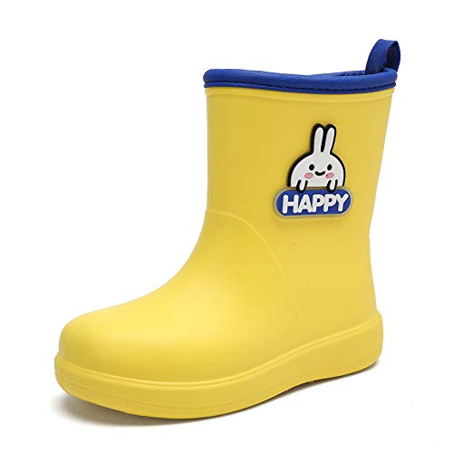 heyun Kids Rain Boots for Girls Boys Toddler Waterproof with Memory Foam Insole and Easy-on Yellow 12 Little Kid