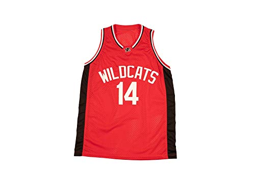 Zac E Troy Bolton 14 East High School Wildcats Red Patch Basketball Jersey Tanks Stich (46)