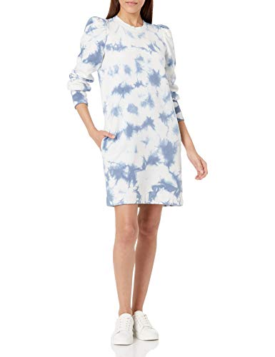 Goodthreads Feminine Long Sleeve Heritage Fleece Sweatshirt Dress Kleid, Indigo Batikfärbung, L