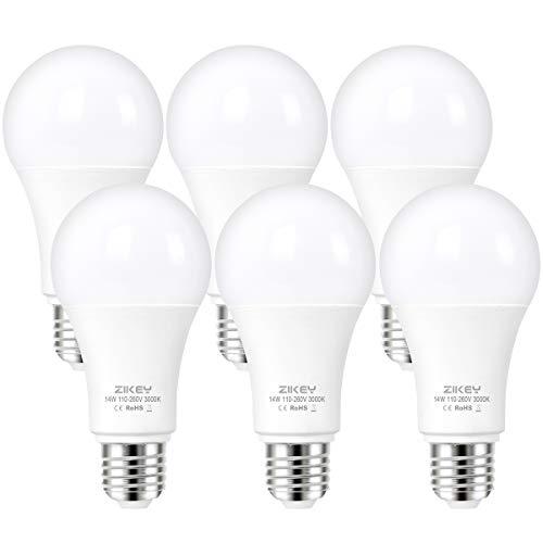 ZIKEY E27 LED Lampe, 14W (Ersetzt 110W Glühbirne), Warmweiß 3000K, 1200 Lumen, A65 Leuchtmittel, Nicht Dimmbar, 6er Pack