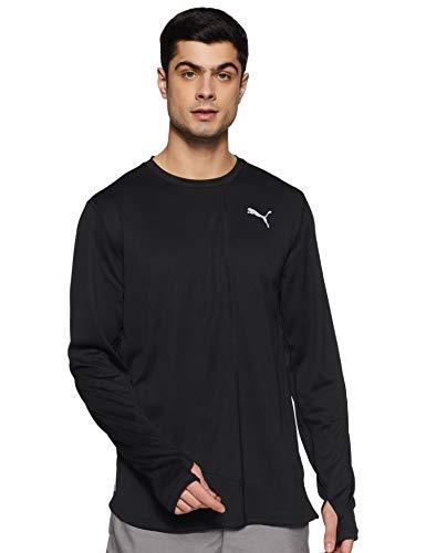PUMA Ignite L/S tee Black T-Shirt, Negro, S Mens