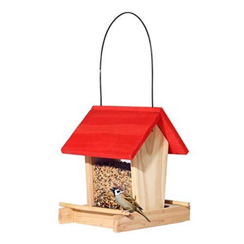 Knowooh voederstation vogelhuisje van hout vogelhuisje voederhuisje om op te hangen met standaard, 20,5 x 16,5 x 21 cm