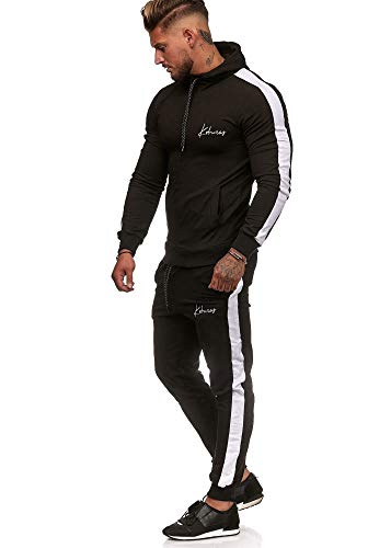 Koburas Herren Jogginganzug Trainingsanzug Sportanzug Jogginghose Hoodie-Sporthose Jogger Modell 3392 Schwarz S