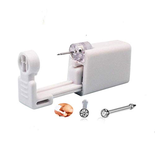 2 Pack Disposable Sterile Nose Piercing Kit Tool Stud Safety Portable Nose Piercing Kit Tool Self Nose Piercing Gun (White)