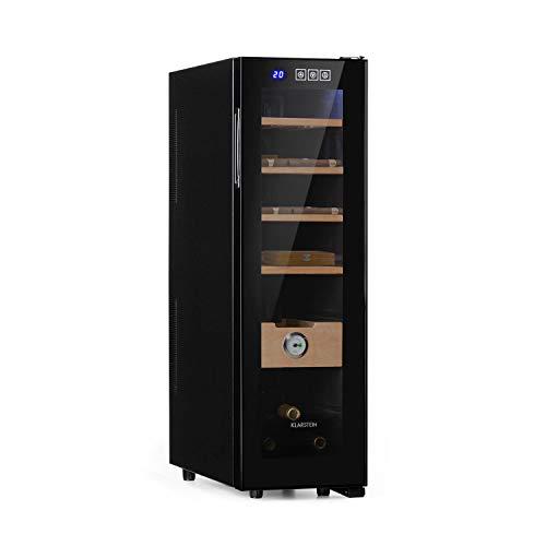 Klarstein El Presidente 45 Slim - Zigarren-Humidor, thermoelektrisch, Glastür, freistehend, 4 Einschübe und eine Schublade aus Zedernholz, 45 Liter, Hygrometer, LED-Innenbeleuchtung, schwarz