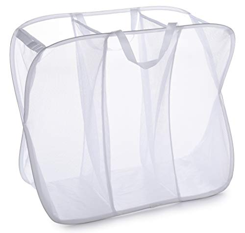 Three Compartment Popup Hamper - Durable Mesh Material, Folds for Storage, Handles to Carry Easily to The Laundry Room. Folding Pop-Up Laundry Hampers are Great for College Dorm or Travel. (White)