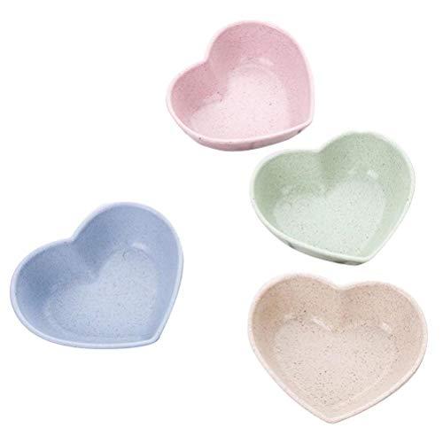 BESTONZON 4 pezzi Carino Amore a forma di cuore Paglia di Paglia Ciotola di aceto Condimento solidi...